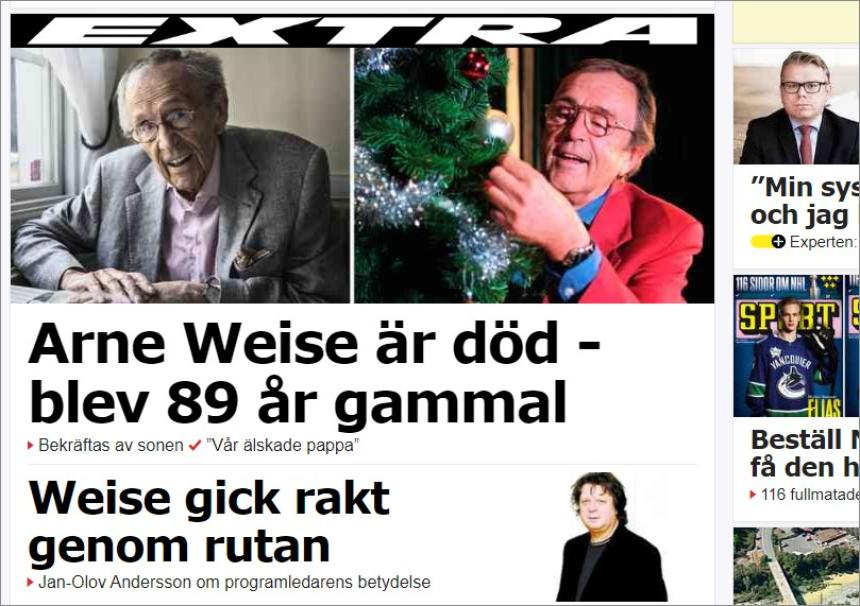 Arne Weise is dood.